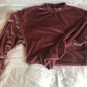 Boohoo Velvet Cropped Sweater with Ruched Sleeves